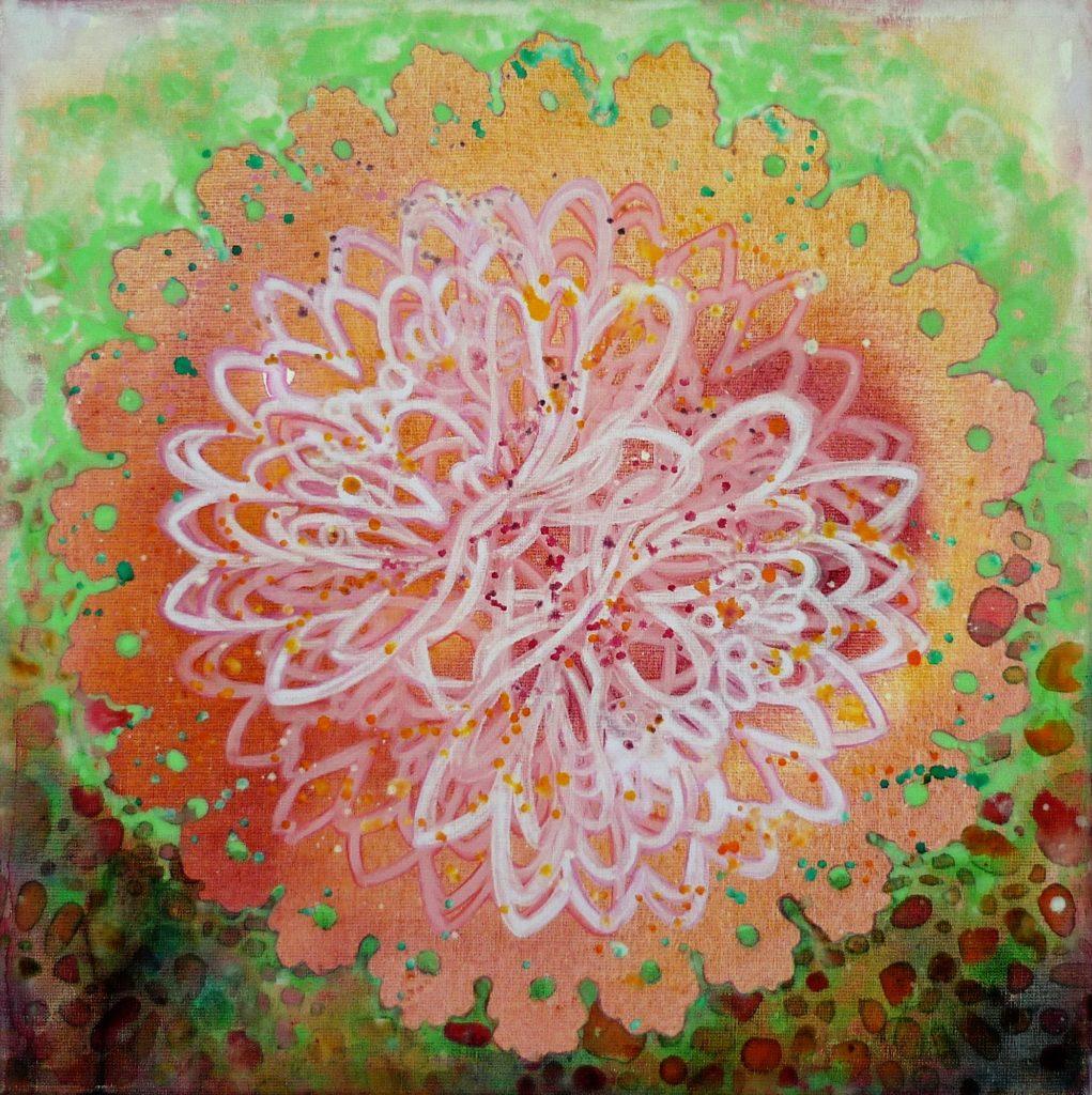 Pink Lotus VI_middel_50x50 cm_2015_Acrylic canvas_Jeannette Kommer_Mohani Art